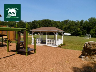 Our partners, Clifton Contracting, built the gazebo. It creates a nice shady area for parents and teachers to sit while watching the kids play.