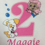 2 year old bubble guppy show applique personalized for Maggie
