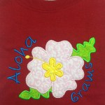 Applique Hibiscus flower personalized with Ahoha Grams