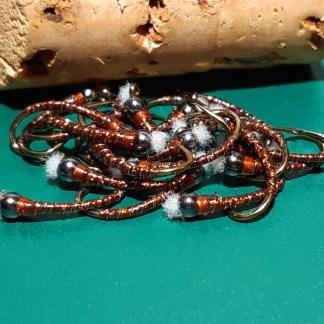 Hot Chocolate Chironomid Pupa Fly - Black Bead Rusty Collar