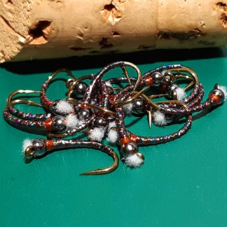 Zucchini Chironomid Pupa Fly - Black Bead Rusty Collar