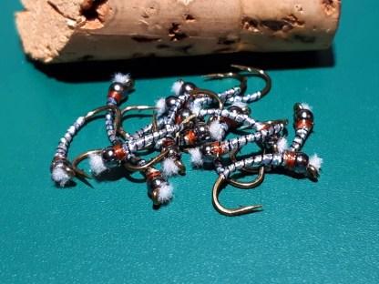 Kromie Black Rib Chironomid Pupa Fly - Black Bead Rusty Collar