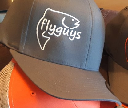 flyguys FlexFit Fishing Hat - Charcoal with White Logo