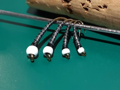 ASB Chironomid Pupa Flies - Black Rib White Bead