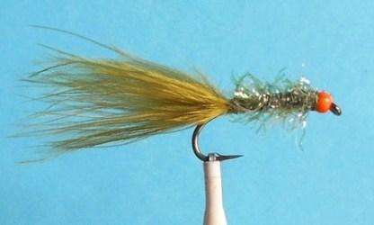UV2 Straggle Leech Fly - Olive & Hot Orange