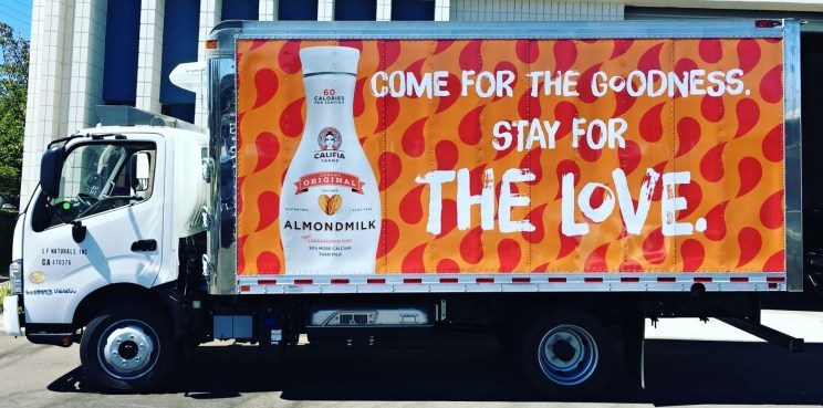 almond milk box truck wrap left