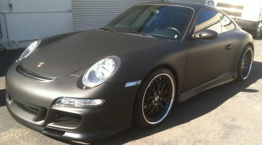 Matte Black Porsche Wrap