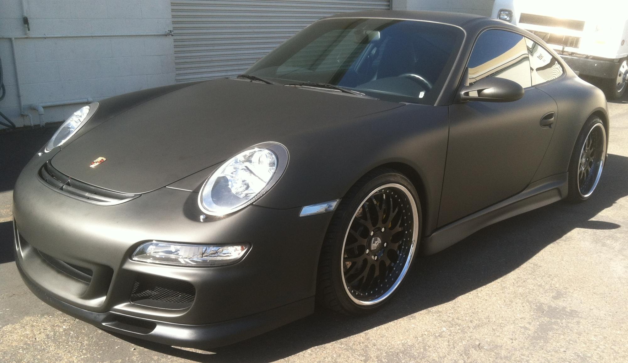 Porsche Matte Black Car Wrap 01