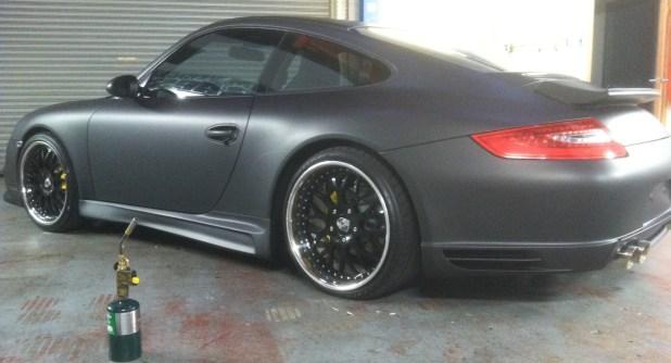 Matte Black Porsche Wrap Custom Vehicle Wraps