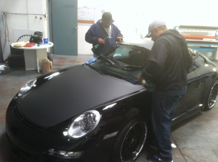 porsche matte black car wrapping-03
