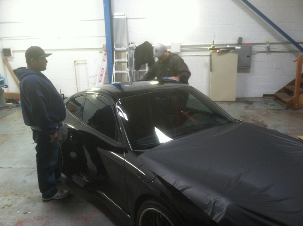 porsche matte black car wrapping-04