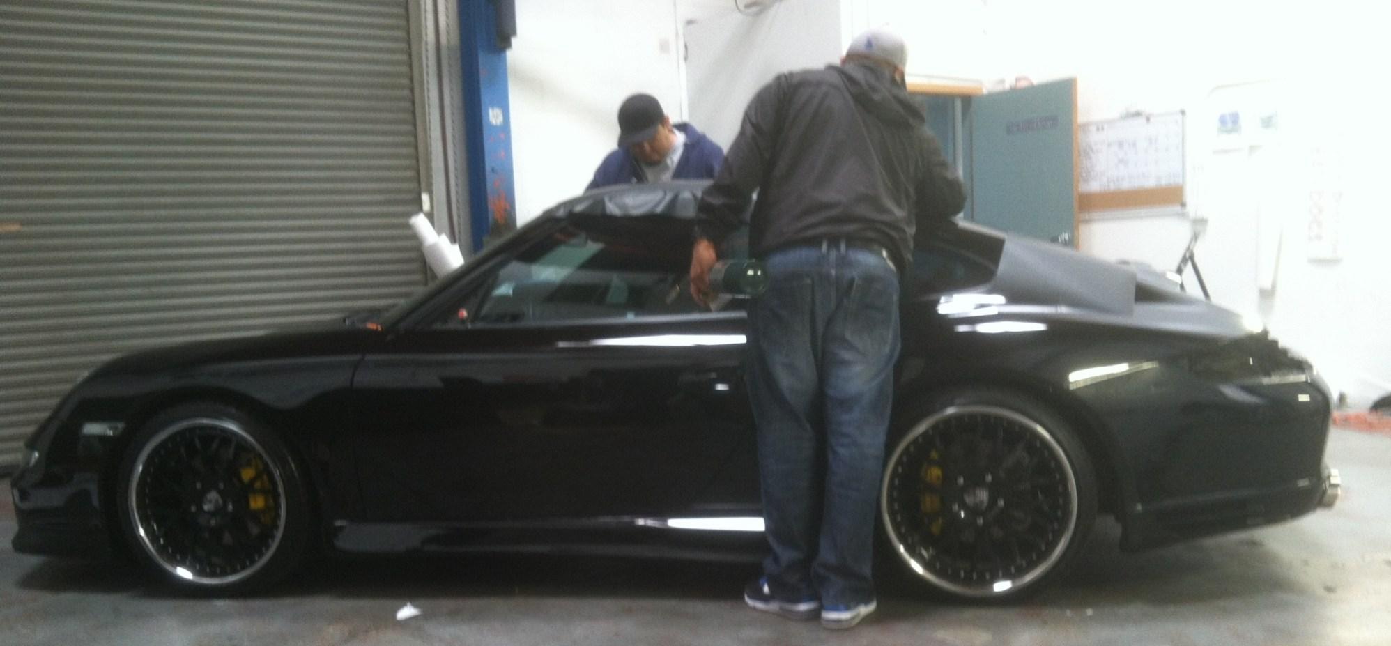 porsche matte black car wrapping-09
