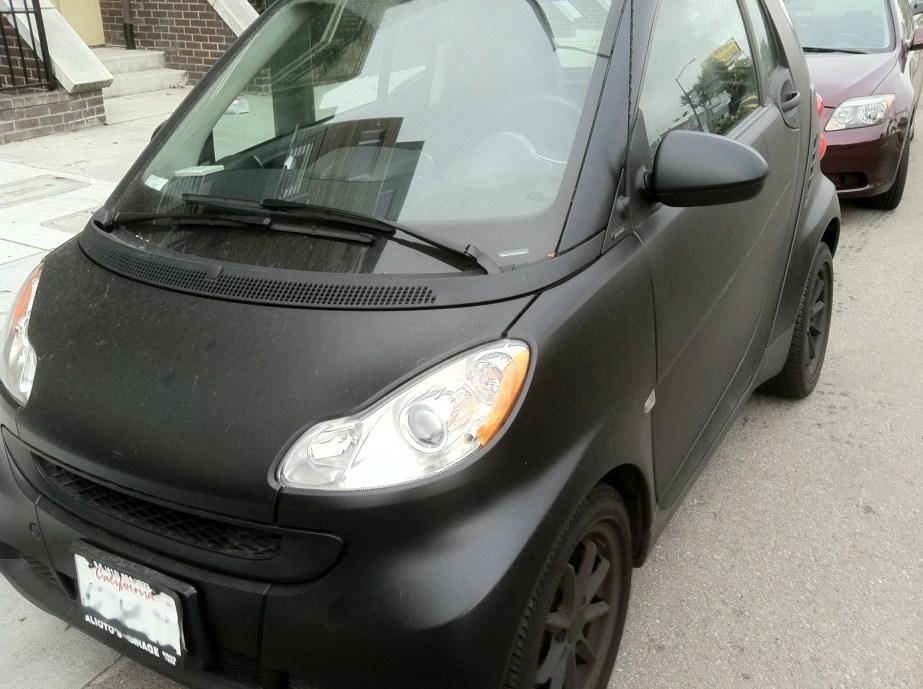 matte black smart car wrap