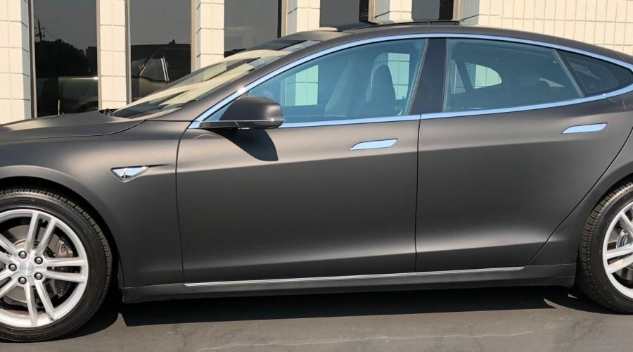 Matte Black Tesla Color Change Wrap