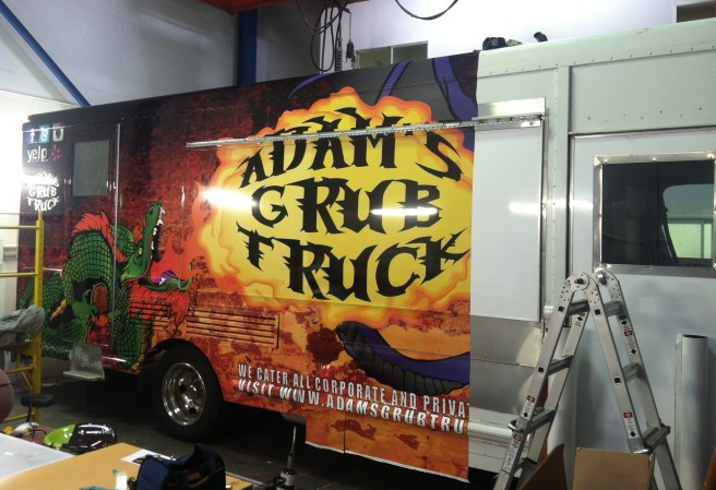 adam's grub truck food truck wrap