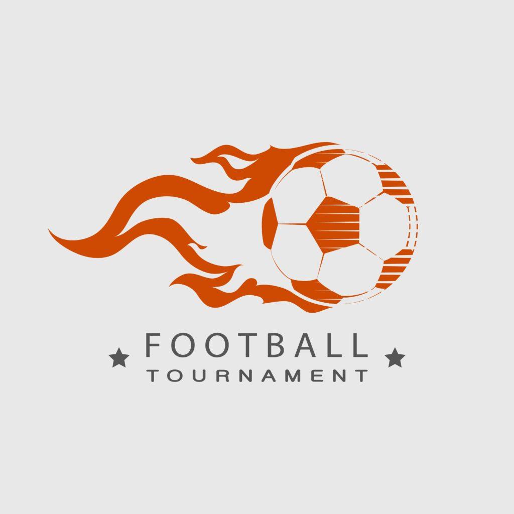 Football Soccer Tournament Logo Ball On Fire Custom