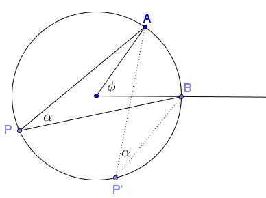 Central and Inscribed Angles in Complex Numbers