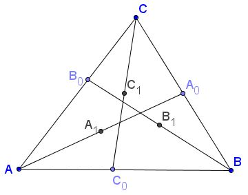 Lines through Circles at Vertices of Equilateral Triangle