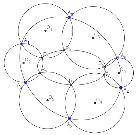 Chain of Six Intersecting Circles