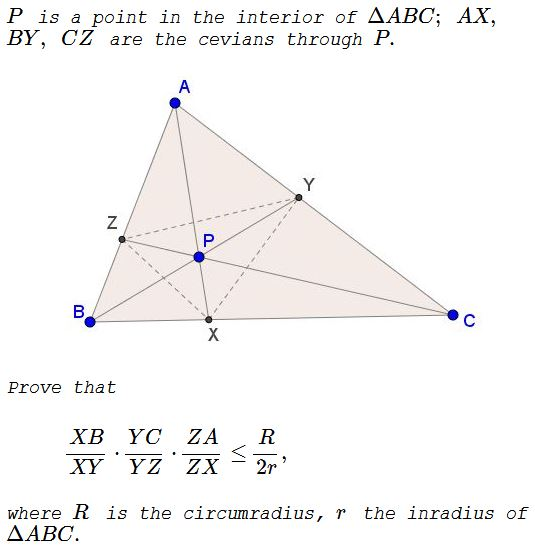 An Inequality for Cevians And The Ratio of Circumradius