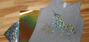 A DIY glitter unicorn t-shirt made with an iron on transfer