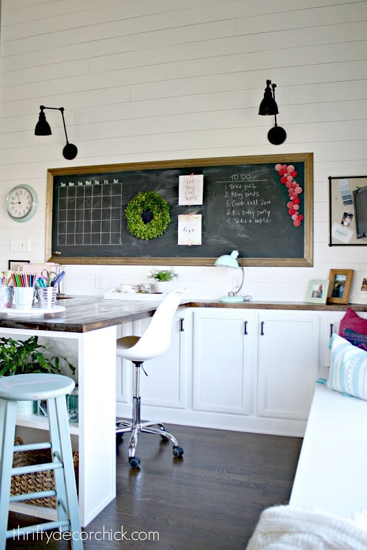Chalkboard stretches across office hangout space