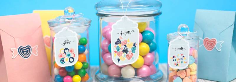 Colorful candy labels printed and cut with the Silhouette Portrait