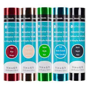 Colorful rolls of Silhouette metallic vinyl, 9 inches wide