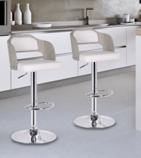 8 White Modern Bar Stools With Low Back