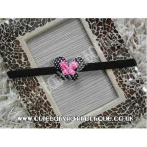 Black and Pink Butterfly Headband
