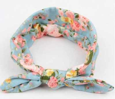 blue floral top knot headband for girls