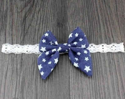 denim bow headband for babies with stars
