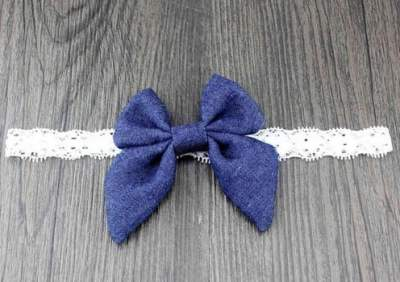 dark blue denim bow headband
