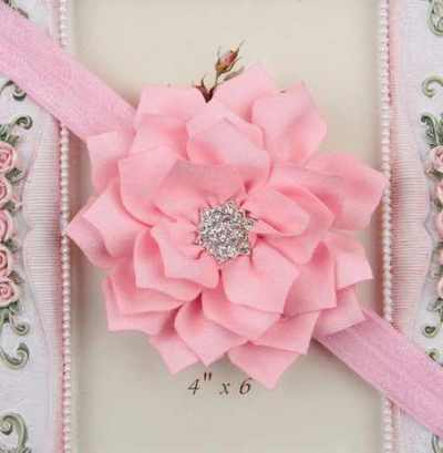 light pink Winter flower headband for girls