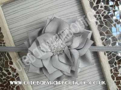silver Winter flower headband for girls