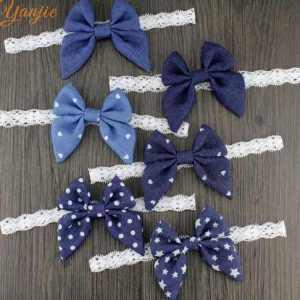 denim bow newborn headband