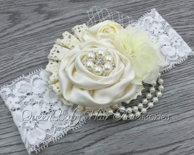 Cream Pearl Lace Headband For Babies