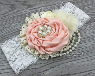 Peach Pearl Lace Headband For Babies