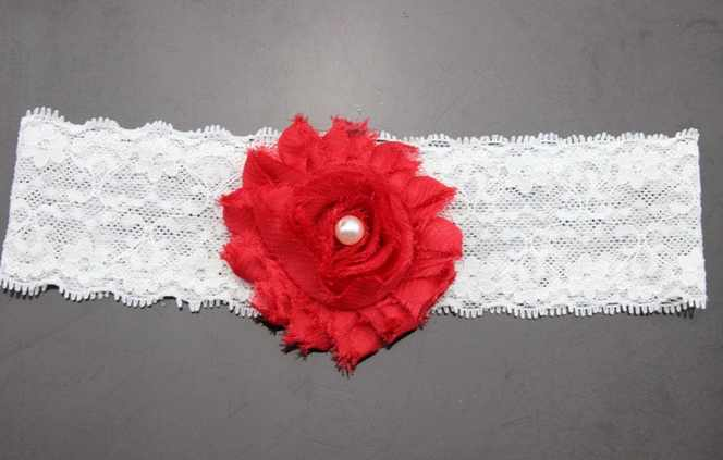 Red christmas baby headband with lace