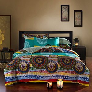 Teal and Yellow Boho Bedding with Circular Designs
