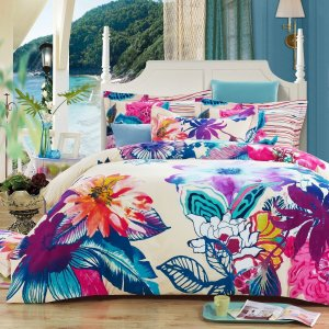 Fun Funky Flowers on this Bohemian Bedding
