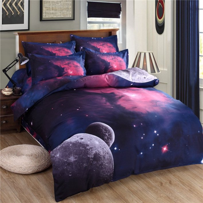 Moons and Fuschia Space Scene Bedding Duvet Cover Set
