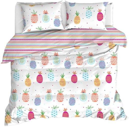 Pineapple Bedding, 100% Cotton Multi Colour Pineapple Themed Quilt/Duvet Cover
