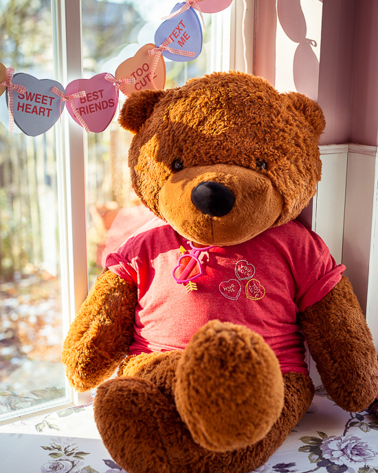 Dem flauschigen Bär habe ich einfach ein Kinder T-Shirt angezogen