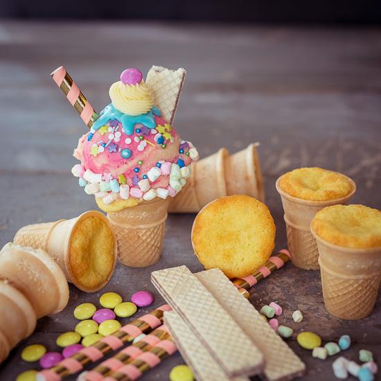 Hier siehst Du wie die Muffins in den Eiswaffeln gebacken sind
