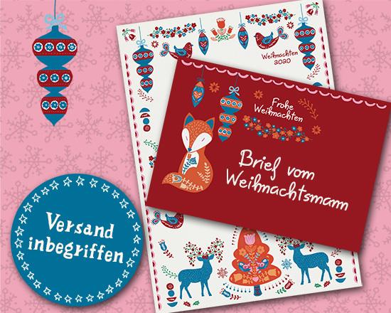 Der Weihnachtsmann hat wieder ein spezielles Briefpapier und Umschlag entworfen