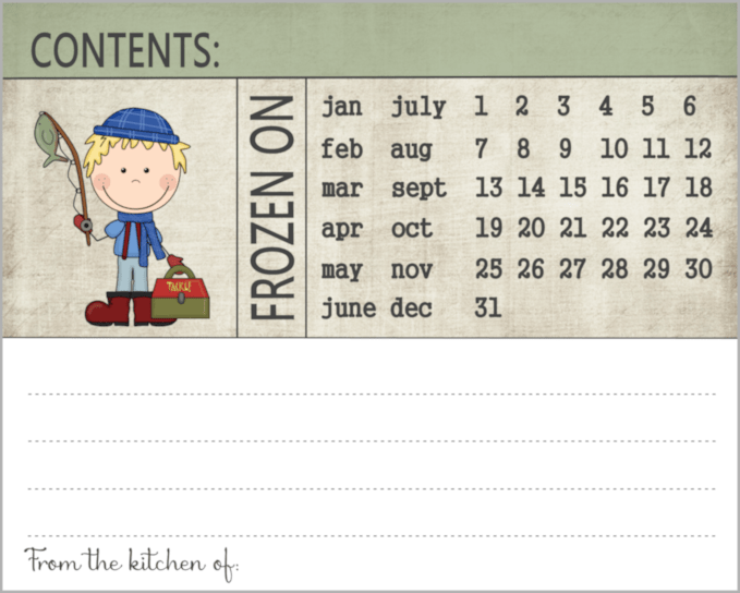 picture relating to Printable Freezer Labels identified as Capture Of The Working day Ice Fishing Printable Labels