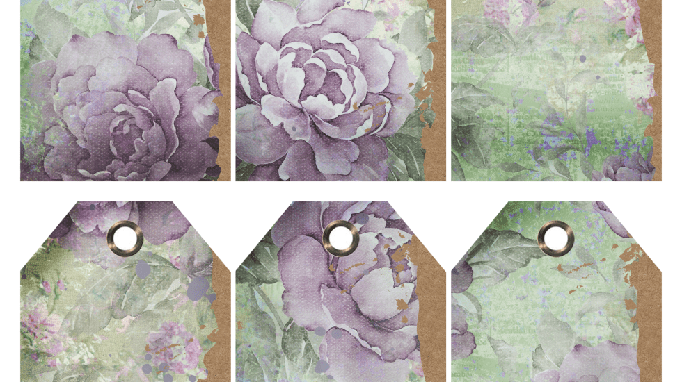 Vintage purple roses torn tags