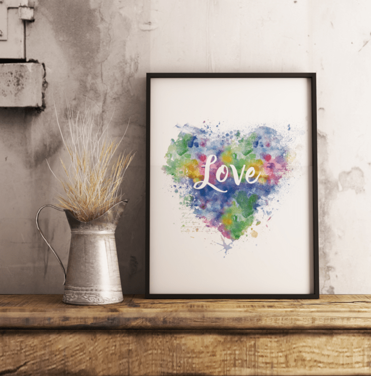 Watercolor Love Wall Art Free Printable