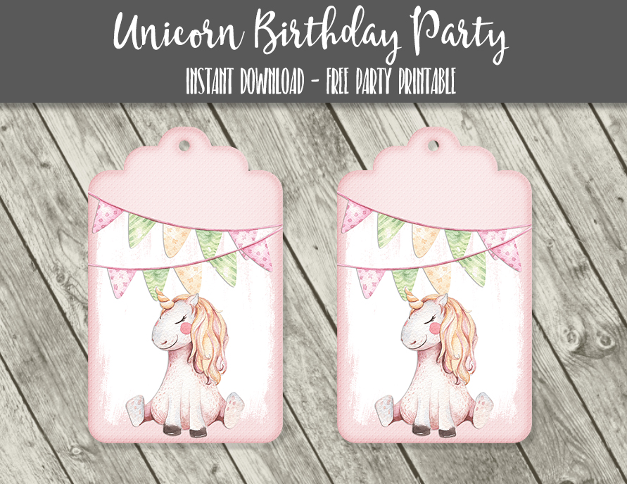Free Unicorn Pastel Watercolor Cupcake Toppers Tags